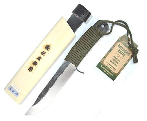 Ikeuti - Cuchillo de caza japonés hecho a mano en Japón, acero azul, camping al aire libre