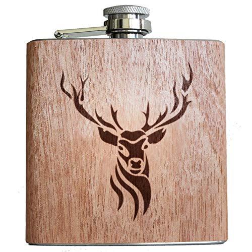 Petaca con diseño de ciervo de 153 ml, con revestimiento de madera y grabado, idea de regalo para...
